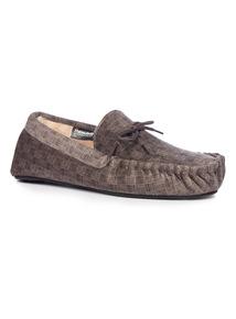 Thinsulate Check Moccasin Slipper