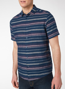 Navy Bold Stripe Linen Mix Shirt