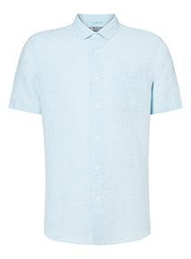 Light Blue Marl Regular Fit Linen Rich Shirt