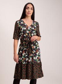 Multicoloured Floral Mid-Length Boho Dress