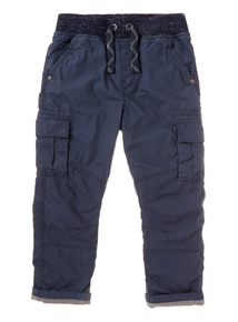 Navy Rib Waist Lined Cargo Trousers (9 months-6 years)