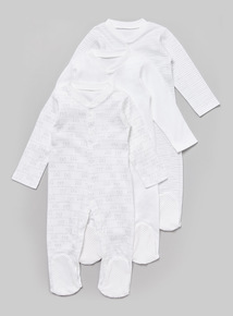 3 Pack White Printed Sleepsuits (Tiny baby - 36 months)