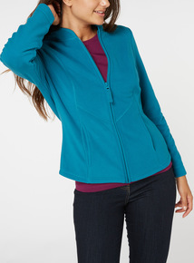 Online Exclusive Teal Zip Up Fleece