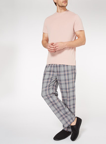 Pink T-Shirt and Checked Trousers Pyjama Set