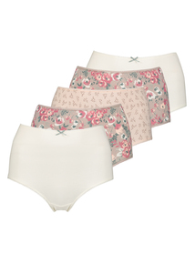 Multicoloured Floral Print Midi Knickers 5 Pack
