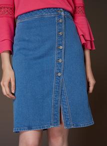 Premium Button Asymmetric Skirt