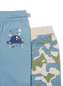 2 Pack Blue and Camouflage Joggers (0-24 months)