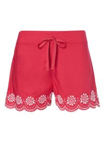 Pink Scallop Hem Shorts