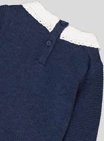 Navy Blue Knitted Dress (0-24 Months)