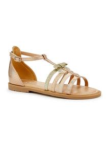Pink Shimmer Gladiator Sandals
