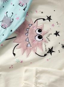 Cream Fluffy Long Sleeve Monster Pyjamas (4-14 years)
