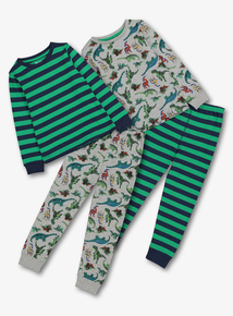 Multicoloured Dinosaur Pyjamas 2 Pack (1.5 - 12 Years)