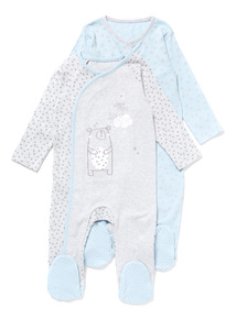 2 Pack Blue and Grey Sleepsuits (Newborn-12 months)