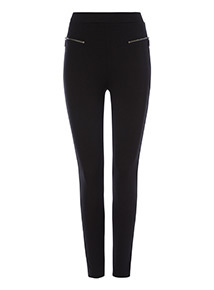 Black Zip Detail Ponte Leggings
