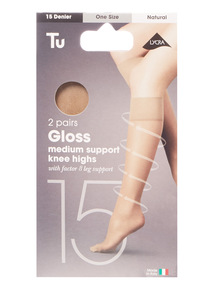 Natural Gloss Medium Support Knee High Tights
