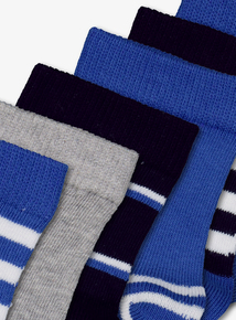 Blue Stripe Socks 7 Pack (3 Infant - 6.5 Adult)