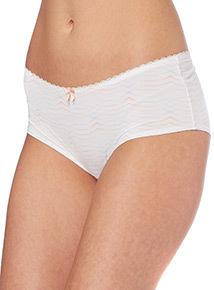 White Patterned Shorts