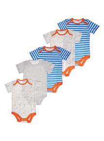 Boys Blue Set Sail Bodysuit 5 Pack (0-24 months)