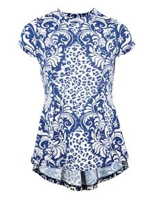 IZABEL Multi Blue Floral Printed Peplum Top