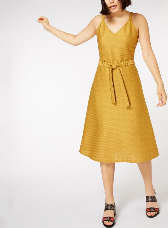 Yellow Textured Midi Dress