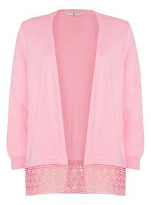 Pink Crochet Hem Cardigan