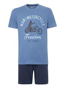 Blue Motorcycle T-Shirt and Shorts Pyjamas