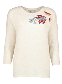 Beige Floral Embroidery Top