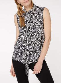 Black Printed Knot Hem Sleeveless Shirt