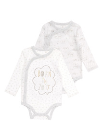 White Slogan Bodysuits 2 Pack (0 - 12 Months)