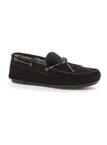 Black Suede Moccasin Slippers
