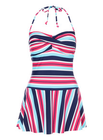 Multicoloured Striped Bandeau Skirty Suit