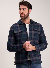 Green & Navy Check Regular Fit Overshirt