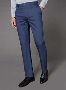Blue Textured Stretch Suit Tailored Fit Trousers