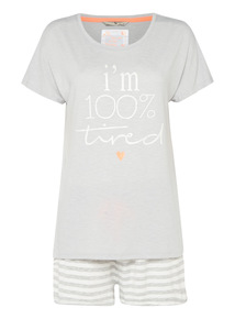 '100% Tired' Slogan Pyjama Set
