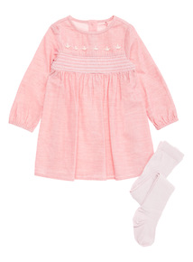 Pink Cord Dress and Tights (0-24 months)