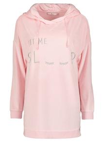 Pink Eyelash Longline Hooded Top