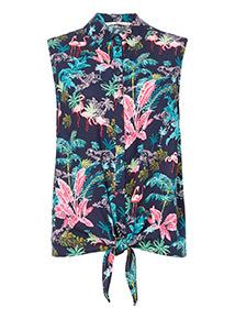 Flamingo Tie Front Shirt