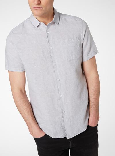 Grey Mini Dogtooth Linen Rich Shirt