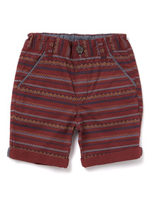 Red Geometric Print Shorts (3-14 years)