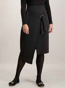Black Pin Dot Eyelet Detail Wrap Skirt