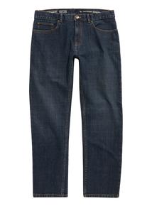 Blue Mid Wash Straight Stretch Denim Jeans