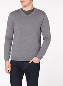Grey V-Neck Jumper