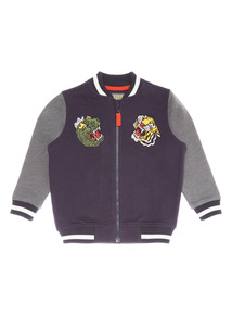Navy Embroidered Sweat Bomber Jacket (9 months-6 years)