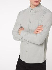 Green Plain Stretch Oxford Shirt