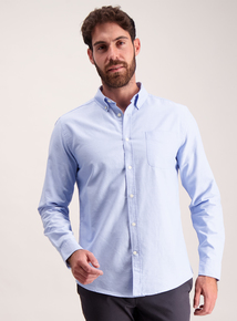 Light Blue Pure Cotton Classic Button-Up Shirt