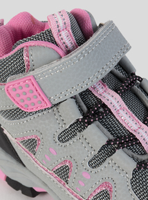 Grey & Pink Glitter Detail High-Top Trainer (10 Infant-4 Child)