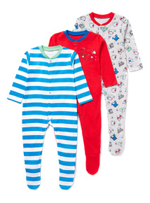 3 Pack Multicoloured Dog Sleepsuits (Newborn-24 months)
