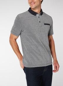 Grey Contrasting Trims Polo Shirt