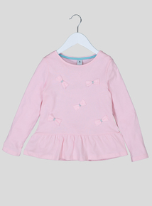 Pink Bow Front Jersey Top (9 Months - 6 Years)