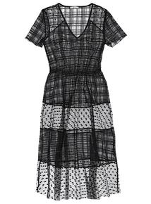 Black Mesh Short-Sleeved Dress